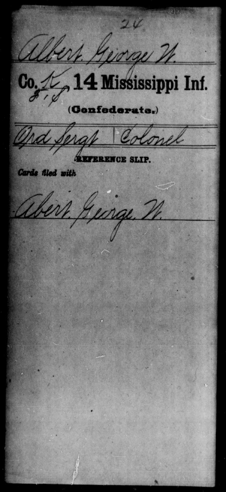 Albert, George W - Age: [Blank], Year: [BLANK] - Mississippi Fourteenth Infantry, A-Ca