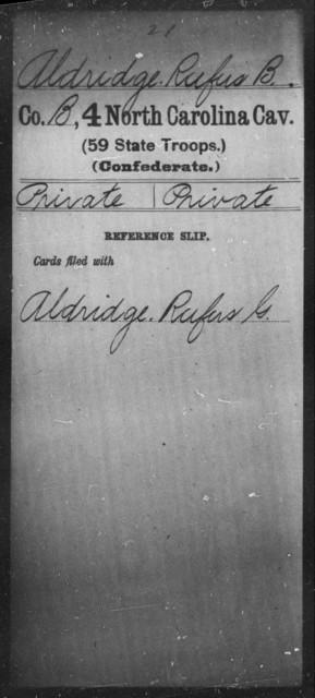 Aldridge, Rufus B - Fourth Cavalry (59th State Troops)