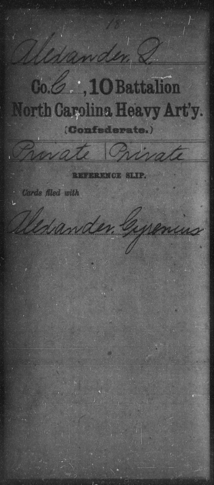 Alexander, Q - Tenth Battalion, Heavy Artillery