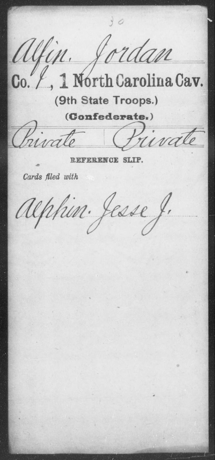 Alfin, Jordan - First Cavalry (Ninth State Troops)