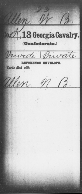 Allen, W B - 12th (Wright's) Cavalry (State Guards) AND 13th Cavalry