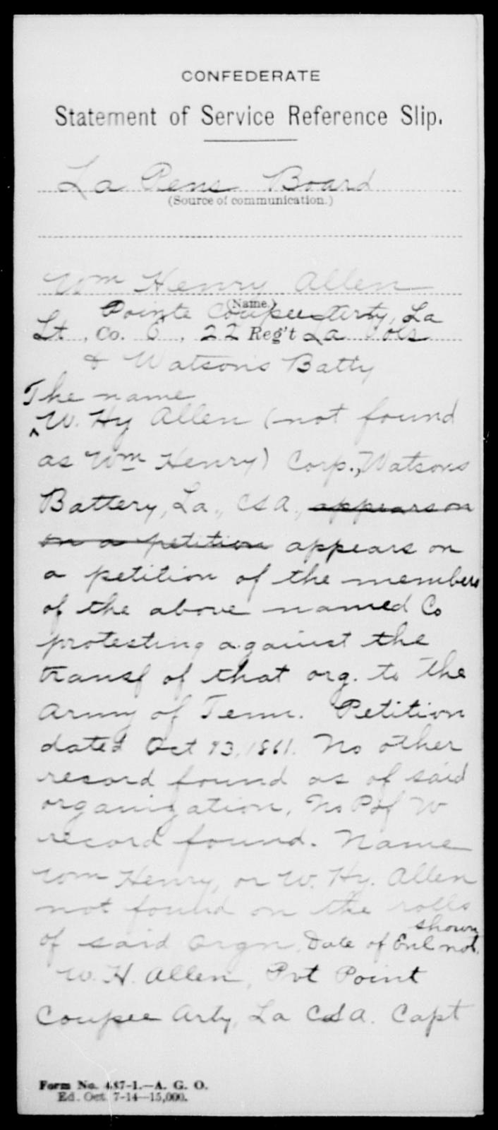 Allen, Wm Henry - Age [Blank], Year: [Blank] - Twenty-second Infantry, Sh - Y AND Twenty-second (Consolidated) Infantry, A - B - Louisiana