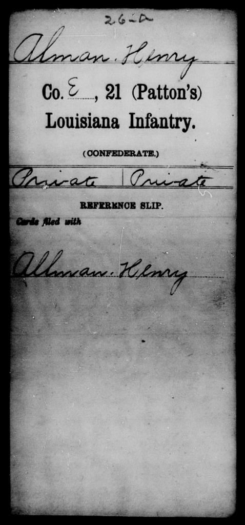 Alman, Henry - Age [Blank], Year: [Blank] - Twenty-first (Kennedy's) Infantry, S - Z AND Twenty-first (Patton's) Infantry, A - De - Louisiana