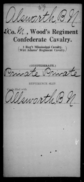 Alsworth, B N - Age [Blank], Year: [Blank] - Wood's Regiment, Confederate Cavalry, A-Ca - Raised Directly by the Confederate Government