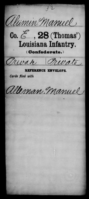 Alumin, Manuel - Age [Blank], Year: [Blank] - Twenty-eighth (Gray's) Infantry, W - Z AND Twenty-eighth (Thomas') Infantry, A - B - Louisiana