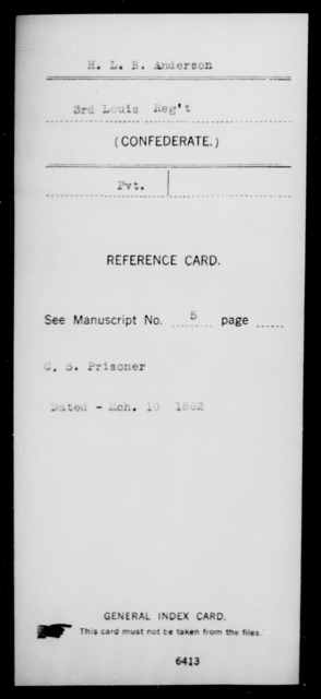 Anderson, H L M - Age [Blank], Year: [Blank] - Third Infantry, A - B - Louisiana