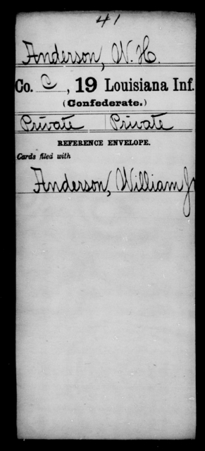 Anderson, W H - Age [Blank], Year: [Blank] - Nineteenth Infantry, A - B - Louisiana