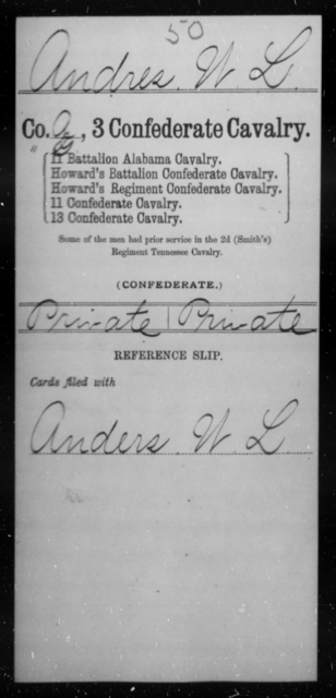 Andres, W L - Age [Blank], Year: [Blank] - Third Confederate Cavalry, A-C - Raised Directly by the Confederate Government