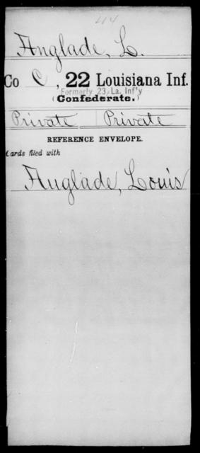 Anglade, L - Age [Blank], Year: [Blank] - Twenty-second Infantry, A - Co - Louisiana