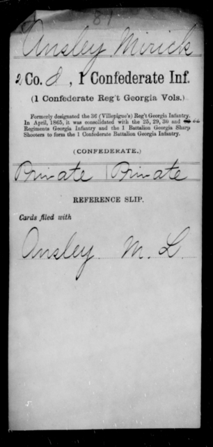 Ansley, Mirick - Age [Blank], Year: [Blank] - First Confederate Infantry, A-B - Raised Directly by the Confederate Government
