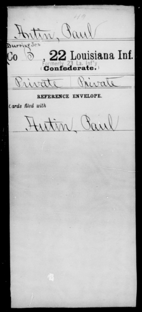 Antin, Paul - Age [Blank], Year: [Blank] - Twenty-second Infantry, A - Co - Louisiana