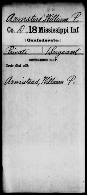 Armstead, William P - Age: [Blank], Year: [BLANK] - Mississippi Eighteenth Tnfantry, A-Bl