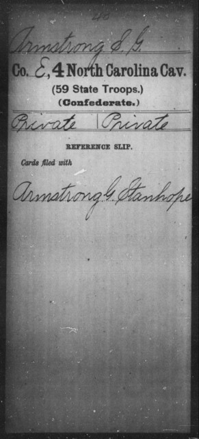 Armstrong, S G - Fourth Cavalry (59th State Troops)