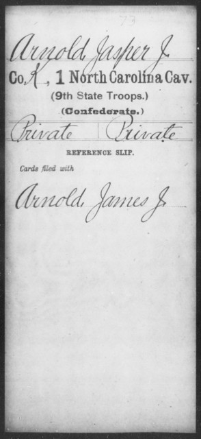 Arnold, Jasper J - First Cavalry (Ninth State Troops)