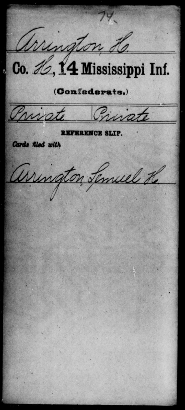 Arrington, H - Age: [Blank], Year: [BLANK] - Mississippi Fourteenth Infantry, A-Ca