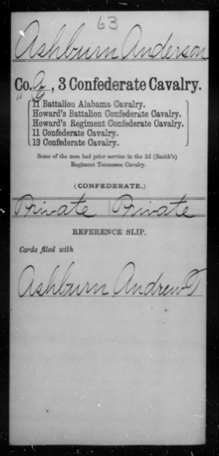 Ashburn, Anderson - Age [Blank], Year: [Blank] - Third Confederate Cavalry, A-C - Raised Directly by the Confederate Government