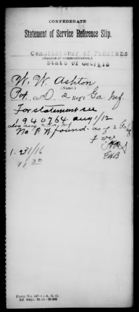 Ashton, W W - Age [Blank], Year: [Blank] - Second Infantry, A - Bo - Louisiana