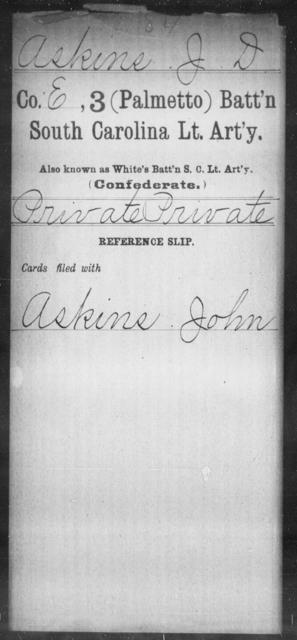 Askins, J D - Age: [Blank], Year: [BLANK] - South Carolina Third (Palmetto) Battalion, Light Artillery A-B