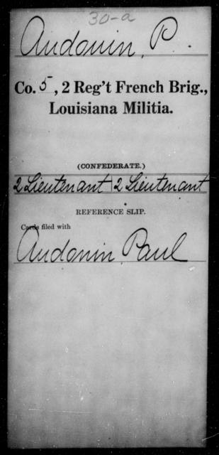 Audonin, P - Age [Blank], Year: [Blank] - Second Regiment, French Brigade, Militia - Louisiana