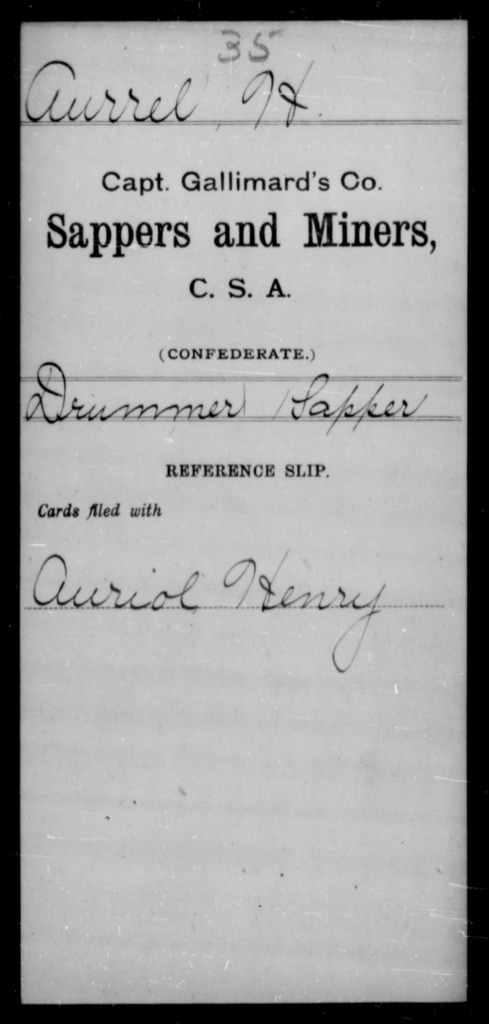 Aurrel, H - Age [Blank], Year: [Blank] - Sappers and Miners, A-K - Raised Directly by the Confederate Government