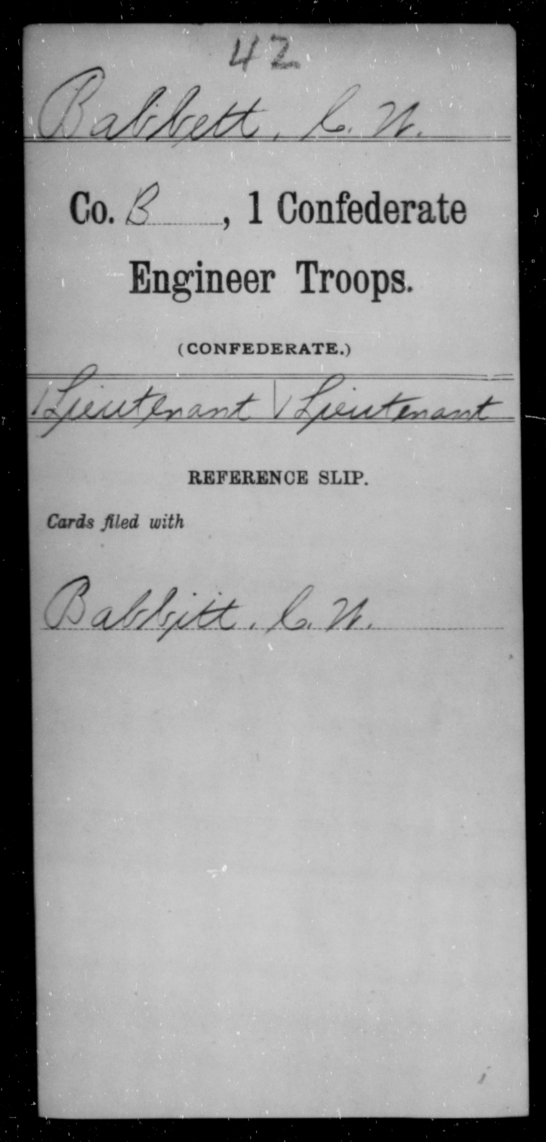 Babbett, C W - Age [Blank], Year: [Blank] - First Confederate Engineer Troops, A-C - Raised Directly by the Confederate Government