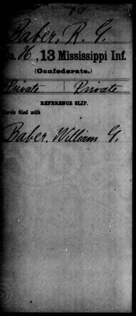 Baber, R G - Age: [Blank], Year: [BLANK] - Mississippi B