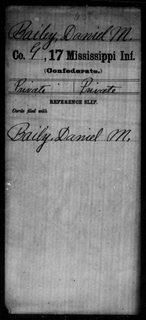 Bailey, Daniel M - Age: [Blank], Year: [BLANK] - Mississippi Seventeenth Infantry, A-B1