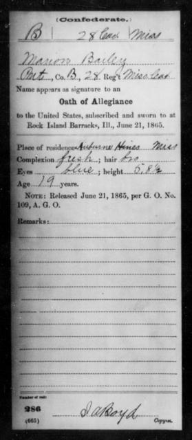 Bailey, Marion - Age: [Blank], Year: 1864 - Mississippi Twenty-eighth Cavalry, A-B