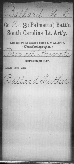 Ballard, M L - Age: [Blank], Year: [BLANK] - South Carolina Third (Palmetto) Battalion, Light Artillery A-B