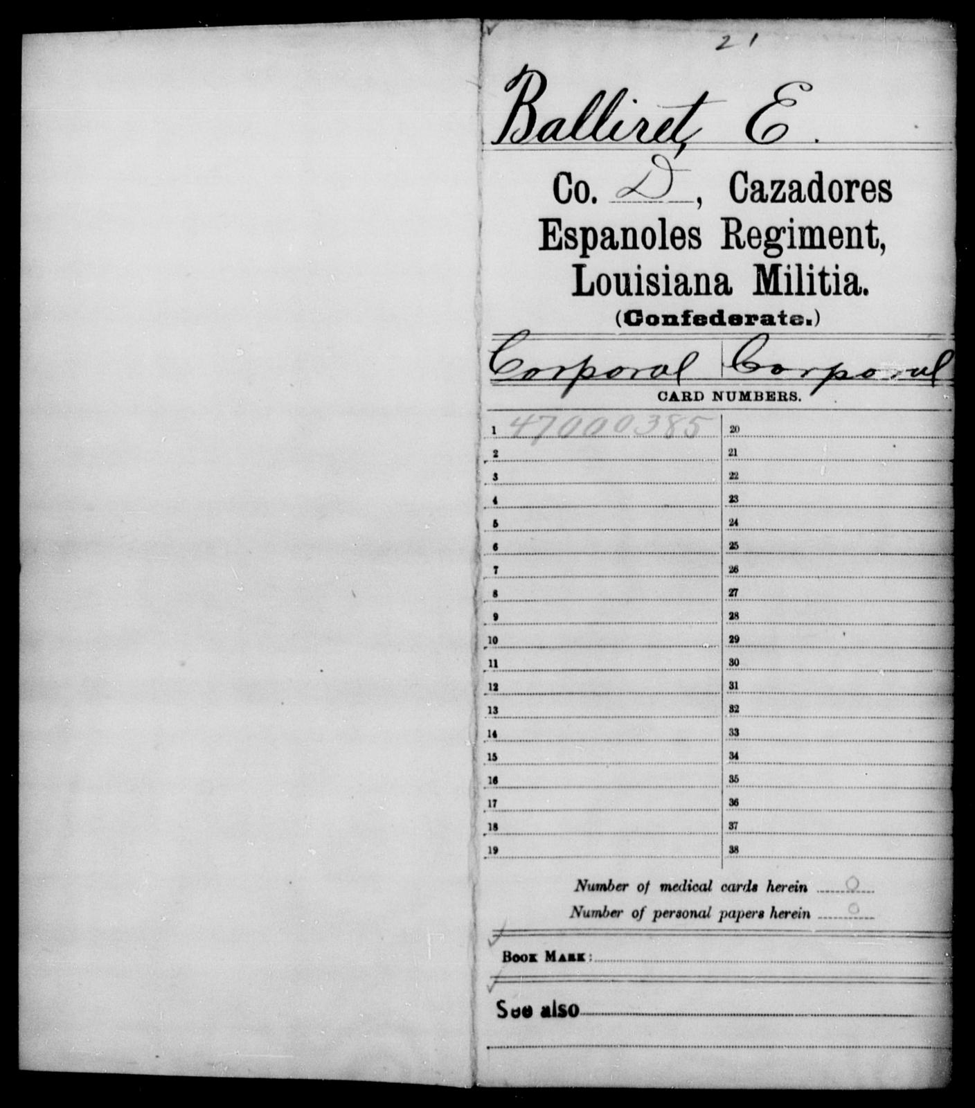 Balliret, E - Age [Blank], Year: [Blank] - British Guard Battalion, Militia, H - W AND Catahoula Battalion AND Cazadores Espanoles Regiment, Militia, A - F - Louisiana