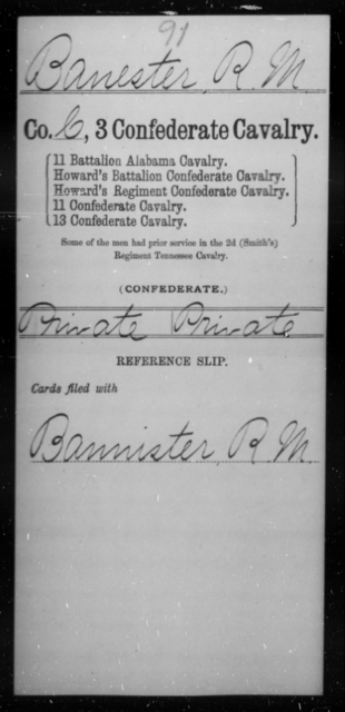 Banester, R M - Age [Blank], Year: [Blank] - Third Confederate Cavalry, A-C - Raised Directly by the Confederate Government