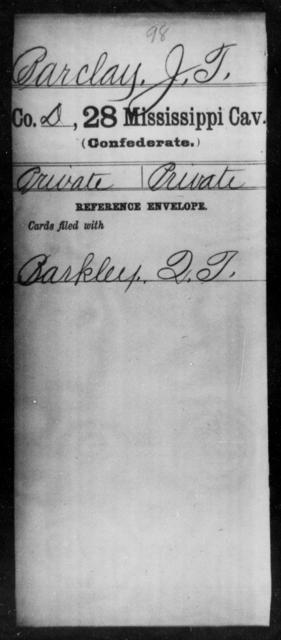 Barclay, J T - Age: [Blank], Year: [BLANK] - Mississippi Twenty-eighth Cavalry, A-B