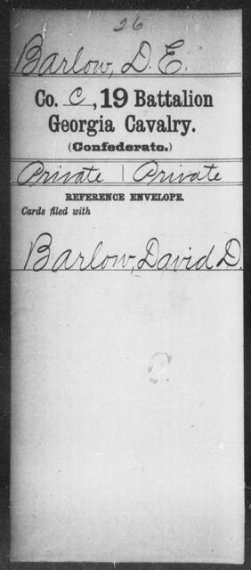 Barlow, D E - 19th Battalion, Cavalry