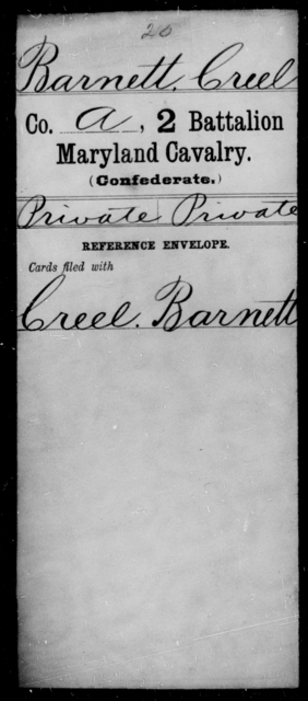 Barnett, Creel - Age [Blank], Year: [Blank] - Second Battalion, Cavalry, A-La - Maryland