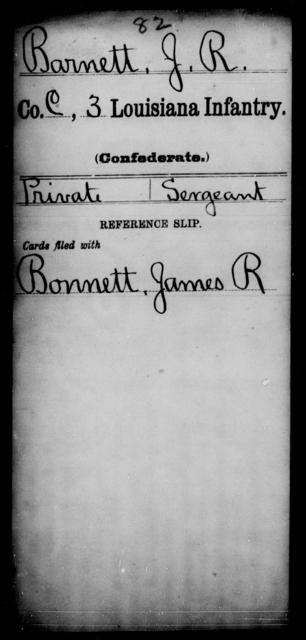 Barnett, J R - Age [Blank], Year: [Blank] - Third Infantry, A - B - Louisiana