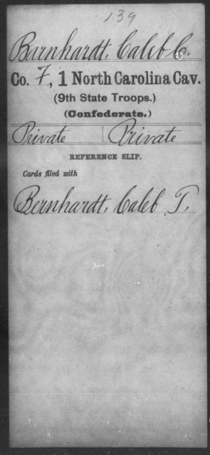 Barnhardt, Caleb C - First Cavalry (Ninth State Troops)