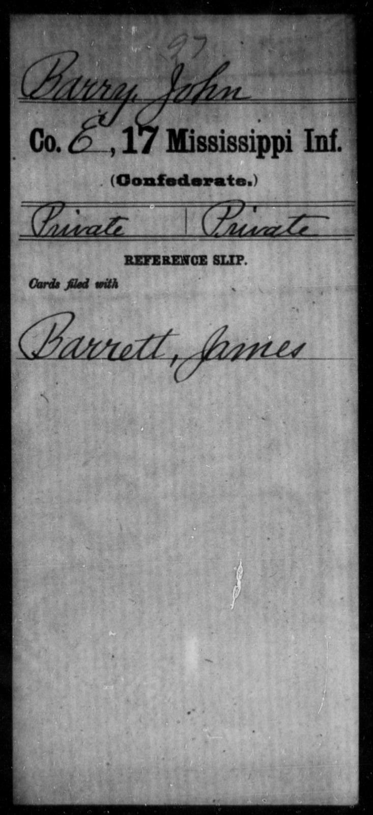 Barry, John - Age: [Blank], Year: [BLANK] - Mississippi Seventeenth Infantry, A-B1