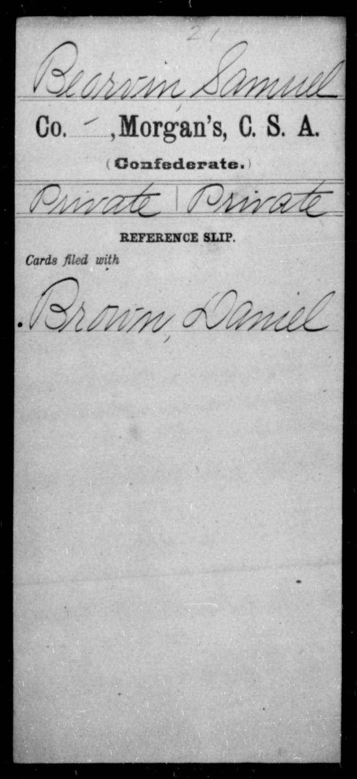 Barvin, Samuel - Age [Blank], Year: [Blank] - Invalid Corps AND Officers Surnamed Morgan, CSA AND President's Guard, CSA AND Misc. Records - Raised Directly by the Confederate Government
