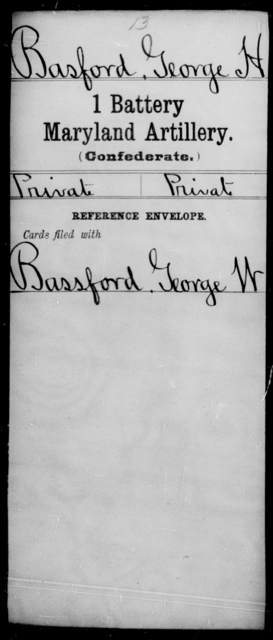 Basford, George H - Age [Blank], Year: [Blank] - First Battery, Artillery, A-O - Maryland