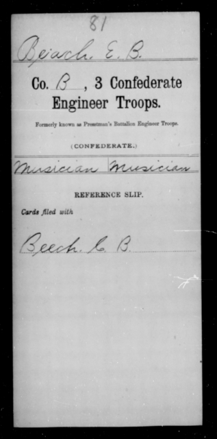 Beach, E B - Age [Blank], Year: [Blank] - Third Confederate Engineer Troops, A-F - Raised Directly by the Confederate Government
