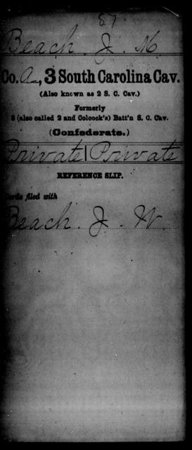 Beach, J M - Age: [Blank], Year: [BLANK] - South Carolina Third Cavalry A-B