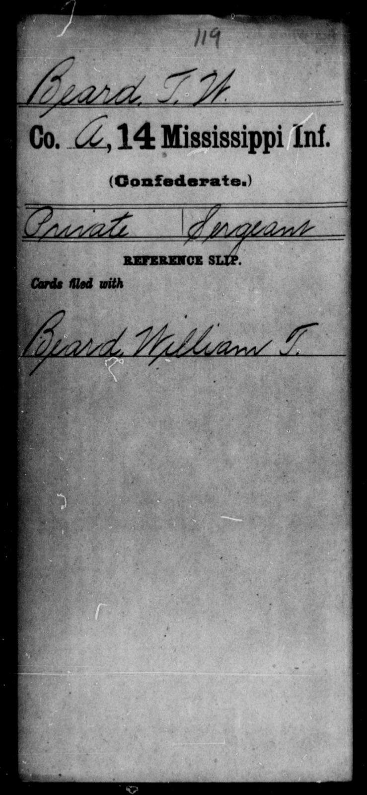 Beard, T W - Age: [Blank], Year: [BLANK] - Mississippi Fourteenth Infantry, A-Ca