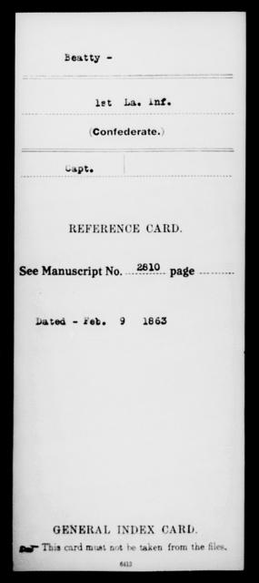 Beatty, [Blank] - Age [Blank], Year: [Blank] - First (Strawbridge's) Infantry, A - B - Louisiana