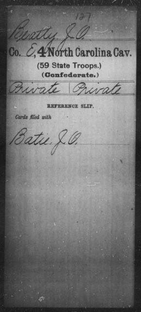 Beatty, J O - Fourth Cavalry (59th State Troops)