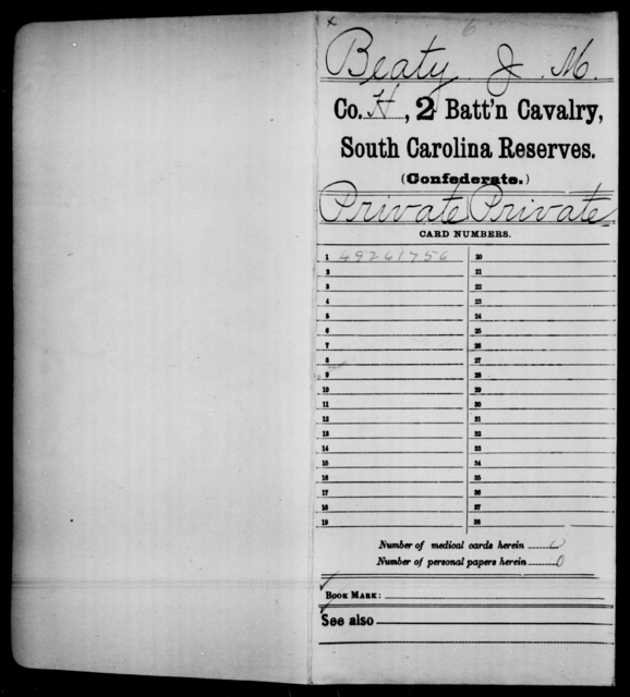 Beaty, J M - Age: [Blank], Year: 1864 - South Carolina Second Cavalry T-Y, Second Battalion, Cavalry Reserves