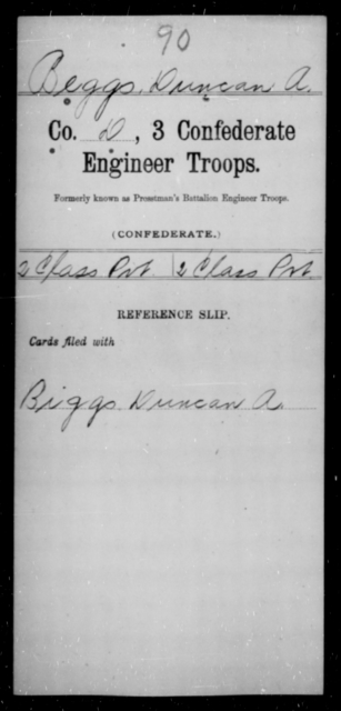 Beggs, Duncan A - Age [Blank], Year: [Blank] - Third Confederate Engineer Troops, A-F - Raised Directly by the Confederate Government