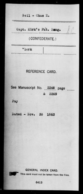 Bell, Chas E - Age: [Blank], Year: [BLANK] - South Carolina Nineteenth Battalion, Cavalry A-L