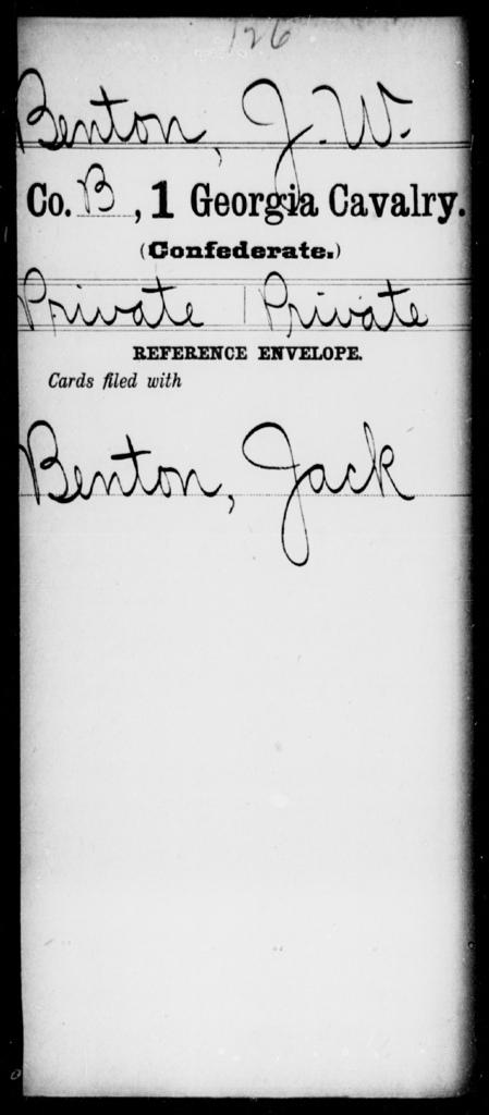Benton, J W - 1st Cavalry