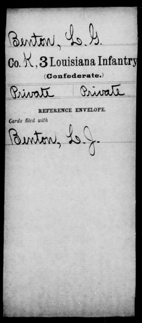 Benton, L G - Age [Blank], Year: [Blank] - Third Infantry, A - B - Louisiana