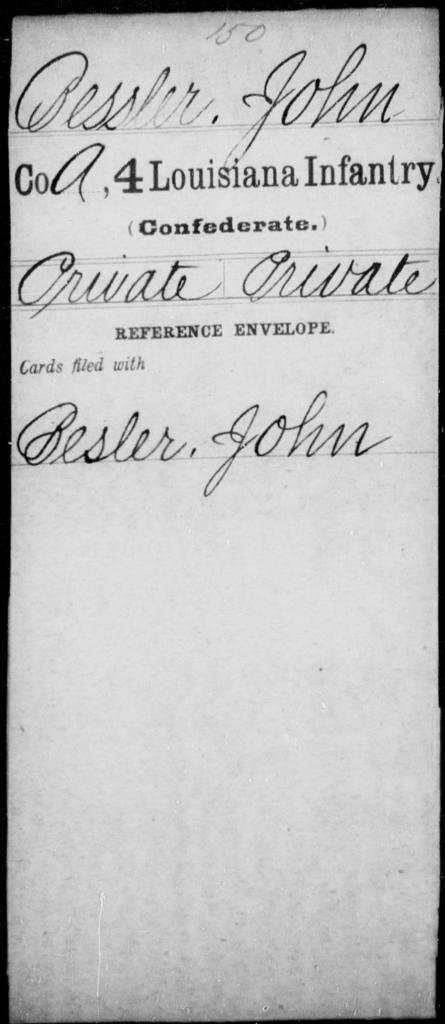 Bessler, John - Age [Blank], Year: [Blank] - Third Regiment, First Brigade, First Division, Militia, - Louisiana